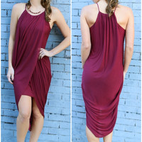 Upper East Side Burgundy Tulip Midi Dress