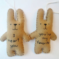 Funny Christmas ornament set felt bunny rabbit decoration youre my favorite I heart you