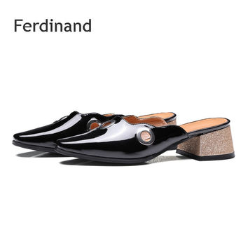 Women Slingbacks shoes high heel shoes Solid color Black White Genuine leather Pointed toe Summer Casual sandals Square heel