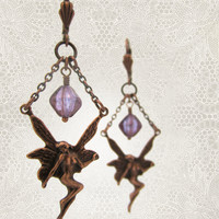 Fairy Earrings - Bohemian Woodland Victorian Fantasy - Lilac Purple Plum