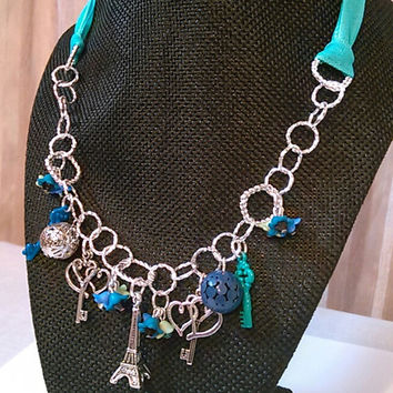 Teal Ribbon Charm Necklace - Love in Paris Necklace - Teal Paris Statement Necklace - Tie me Down Necklace