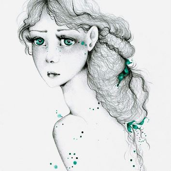 Fine Art Giclee Print of my Original Pencil Drawing Watercolor Painting Teal Green Women Face Girls Room Green Eyes Illustration Home Decor