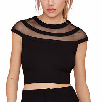 Cap Sleeve Mesh Cut-Out Cropped Top