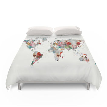 Society6 World Map Abstract Duvet Cover