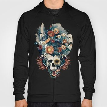 Skull and Flowers Hoody by RIZA PEKER