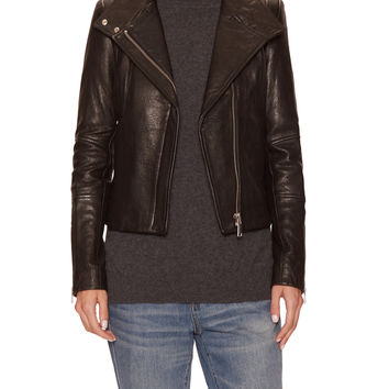 Andrew Marc x Richard Chai Women's Natasha High Neck Leather Jacket - Black