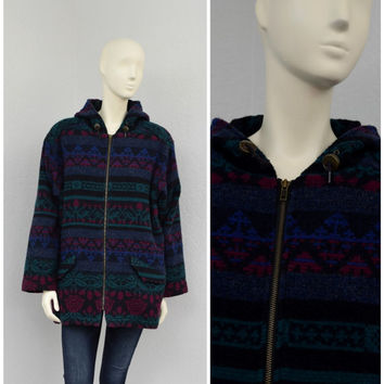 Vintage 80s Woolrich Colorful Boiled Wool Coat, Hooded Oversized Sweater Coat, Striped Abstract Print, Size L XL