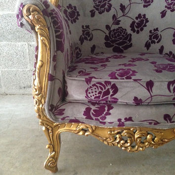 Antique Italian Baroque Chair Wingback Bergere Fauteuil Rococo Louis XVI Gold Leaf Original Gild Dove Grey Purple Fuchsia Floral Fabric