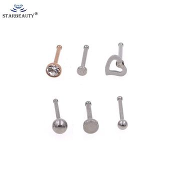 6 Style Choice Nose Stud Surgical Steel Rhinestone Round Nose Ring Bone Stud Body Piercing Jewelry Small bone Nose stud Ring