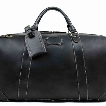 BLUESEBE HANDMADE VINTAGE GENUINE LEATHER DUFFLE TRAVEL BAG DZ07-B