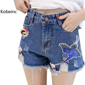 Kobeinc Solid Sequins Female Denim Shorts Summer Fashion Hole Short Feminino New High Waist Women Shorts Plus Size S-Xl