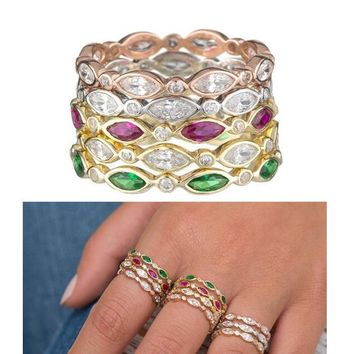 VARIOUS COLOR marquise round cubic zirconia engagement band cz eternity fashion stack stackable cz ring personalized