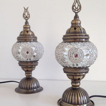 Angels of Istanbul design Handmade Turkish Mosaic Lamps with bronze plated base, Small Glass & Beads lamps, Exotic Lamps, Table lamps, light