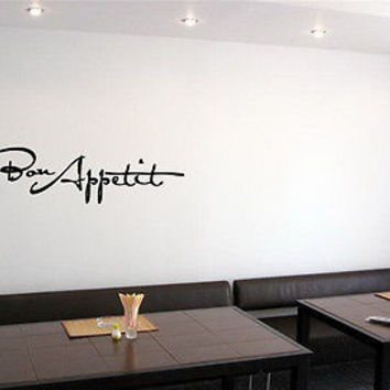 WALL VINYL STICKER DECAL ART MURAL BON APPETIT RESTAURANT CAFE DESIGN  A584