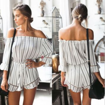Fashion sexy off shoulder stripe 7 minutes sleeve romper