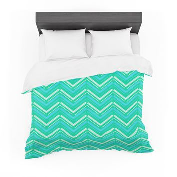 """CarolLynn Tice """"Symetrical"""" Teal Turquoise Featherweight Duvet Cover"""