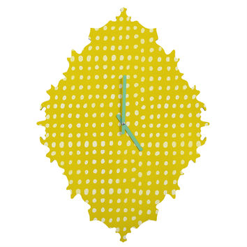 Leah Flores Sunshine Scribble Dots Baroque Clock