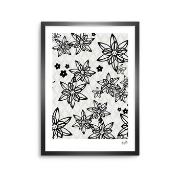 "Julia Grifol ""Floral In Black"" White Black Digital Framed Art Print"