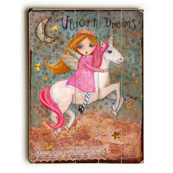 Unicorn Dreams by Artist Heather Rushton Wood Sign