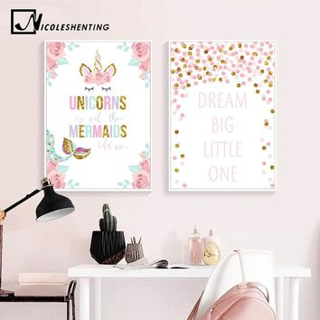 Unicorn Flower Canvas Poster Wall Art Nursery Quotes Print Painting Nordic Kids Decoration Picture Baby Girl Bedroom Decor