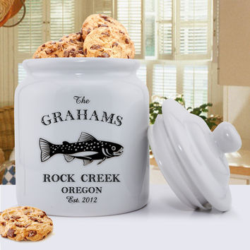 Personalized Cabin and Lake Trout Cookie Jar