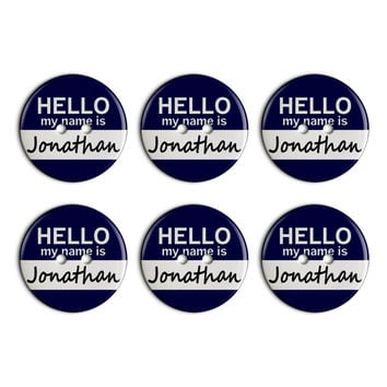 Jonathan Hello My Name Is Plastic Resin Button Set of 6