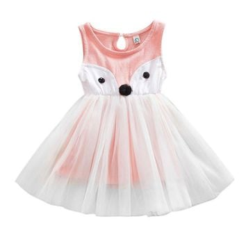Summer Girl Princess Dress Sleeveless Fox Pattern Kid Baby Party Wedding Tulle Tutu Dresses