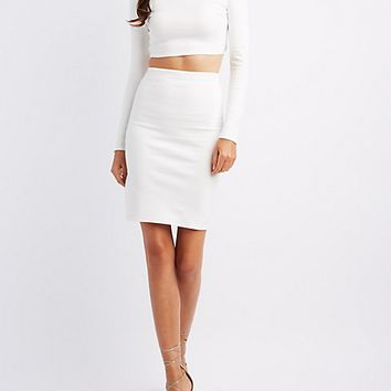 Mock Neck Crop Top & Skirt Hook-Up