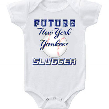 New Cute Funny Baby One Piece Bodysuit Baseball Future Slugger MLB New York Yankees #2