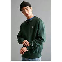 Champion The style of the round collar is 100% cotton street fashion Dark green