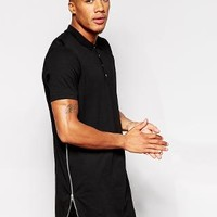 ASOS | ASOS Super Longline Polo Shirt With Side Zips & Curved Hem at ASOS