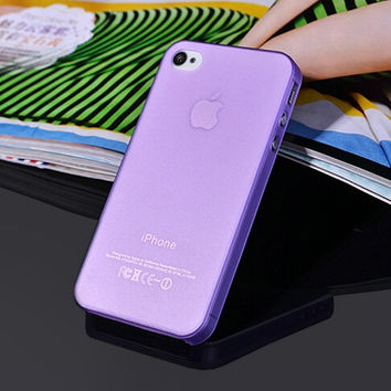 Purple Ultra Thin Matte Soft Plastic Transparent Phone Back Cover Case For iPhone 4 4s 5 5s SE 6 6s 6 Plus 6s Plus