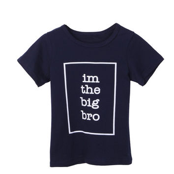 Casual Big Brother/Sister Kids T-Shirt Letter Print Boy Girl Children Toddler Funny Hipster Tops Tee Black Short Sleeve