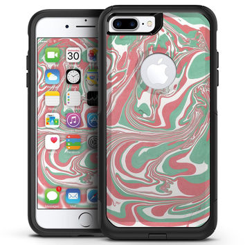 Marbleized Swirling Pink and Green - iPhone 7 or 7 Plus Commuter Case Skin Kit