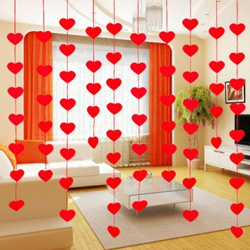 1Set DIY Red Love Heart Curtain Non-woven Fabrics Garland Lovely Wedding Decoration Party  Supplies Marriage Room Decor 5ZSH282
