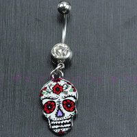 Flower Painted Skull Shape Belly Button Ring - Dangle