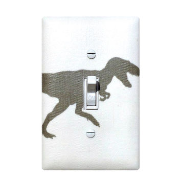 Dinosaur Light Switch Plate / T Rex Gray Baby Boy Nursery / Boys Room / Storm Grey White Premier Prints / Gender Neutral