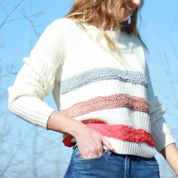 Striped Multi Colored Chunky Knit Sweater