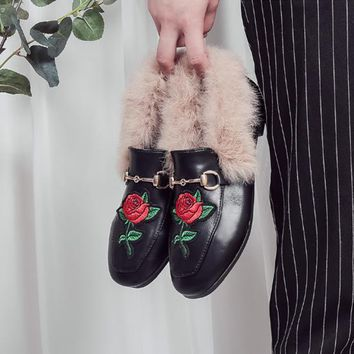 Women Fashion All-match Rose Flower Embroidery Rabbit Hair Square-toe Leather Shoes Loafer Lazy Flats Shoes