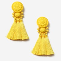 Yellow Bead and Tassel Drop Earrings - Jewelry - Bags & Accessories