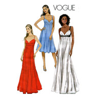 EMPIRE Dress COCKTAIL EVENING Gown Pattern Sexy Maxi Dress Swetheart Neck Vogue 8475 Women's Sewing Patterns Bust 30.5 31.5 32.5 34 UNCuT