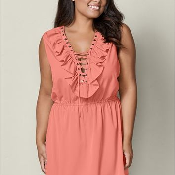 Ruffle Lace Up Mini Dress in Burnt Coral | VENUS