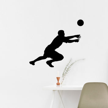 Volleyball Wall Sticker Decal - Male Defense Player Blocking Silhouette Decoration - #7