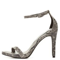 Single Sole Python Ankle Strap Heels by Charlotte Russe