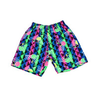 Vintage 90s Gecko Hawaii Neon Elastic Waist Shorts Made in Hawaii Mens Size Small
