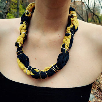 T-shirt Fabric Necklace | Azul Yellow | Blue and Yellow Braids With Wire