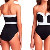 2016 Black and White V Cut One Piece Swimsuit Monokini Bathing Suit