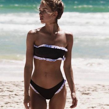 Strapless Lace Edge Pleated Fabric Two Piece Suit Hot style bikini bottom section swimsuit pit. Black.