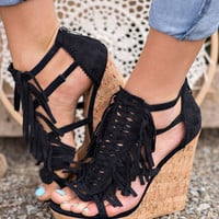 So You Think You Can Dance Suede Fringe Wedges (Black)