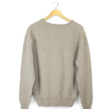 vintage 100% wool sweater / pullover v-neck / beige tan cream brown / basic plain simple / unisex / mens medium - large
